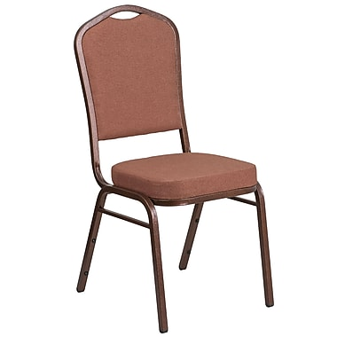 HERCULES Series Crown Back Stacking Banquet Chair with Brown Fabric and 2.5'' Thick Seat, Copper Vein Frame [FD-C01-COP-1-GG]