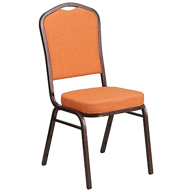 HERCULES Series Crown Back Stacking Banquet Chair with Orange Fabric and 2.5'' Thick Seat, Copper Vein Frame [FD-C01-C-9-GG]