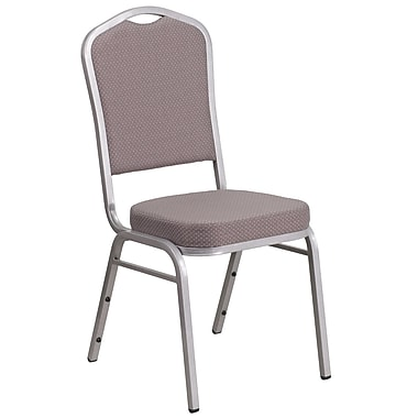 HERCULES Series Crown Back Stacking Banquet Chair with Grey Dot Fabric and 2.5'' Thick Seat, Silver Frame [FD-C01-S-6-GG]