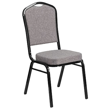 HERCULES Series Crown Back Stacking Banquet Chair with Grey Fabric and 2.5'' Thick Seat, Black Frame [FD-C01-B-5-GG]