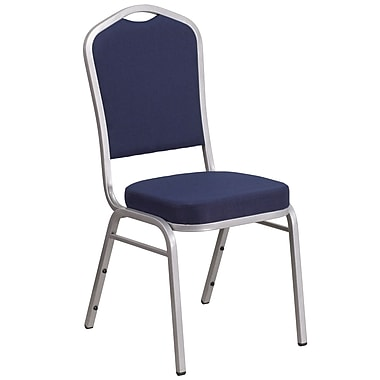 HERCULES Series Crown Back Stacking Banquet Chair with Navy Fabric and 2.5'' Thick Seat, Silver Frame [FD-C01-S-2-GG]