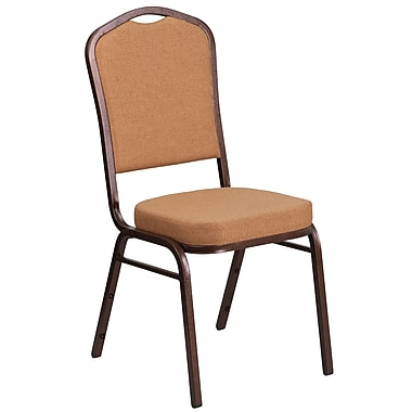 HERCULES Series Crown Back Stacking Banquet Chair with Brown Fabric and 2.5'' Thick Seat, Copper Vein Frame [FD-C01-C-4-GG]