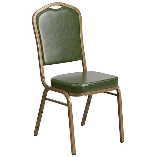 HERCULES Series Crown Back Stacking Banquet Chair with Green Vinyl and 2.5'' Thick Seat - Gold Frame [FD-C01-G-3-GG]