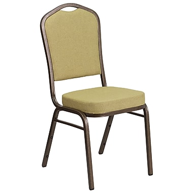 HERCULES Series Crown Back Stacking Banquet Chair with Citron Fabric and 2.5'' Thick Seat, Gold Vein Frame [FD-C01-GV-8-GG]
