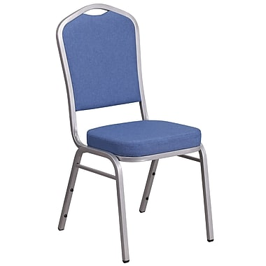 HERCULES Series Crown Back Stacking Banquet Chair with Blue Fabric and 2.5'' Thick Seat, Silver Frame [FD-C01-S-7-GG]