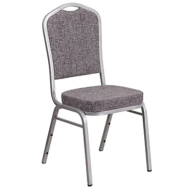 HERCULES Series Crown Back Stacking Banquet Chair with Herringbone Fabric and 2.5'' Thick Seat, Silver Frame (FD-C01-S-12-GG)