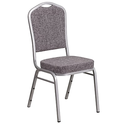 HERCULES Series Crown Back Stacking Banquet Chair with Herringbone Fabric and 2.5'' Thick Seat - Silver Frame (FD-C01-S-12-GG)