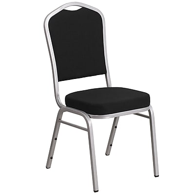 HERCULES Series Crown Back Stacking Banquet Chair with Black Fabric and 2.5'' Thick Seat - Silver Frame (FD-C01-S-11-GG)