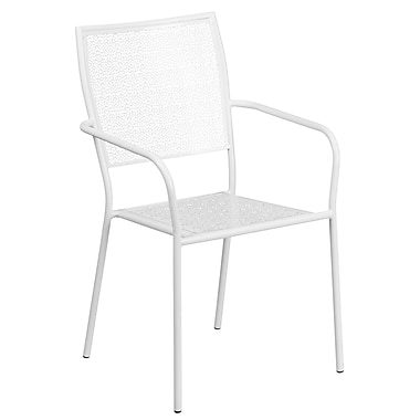 Flash Furniture Indoor-Outdoor Steel Patio Arm Chair with Square Back, White (CO2WH)