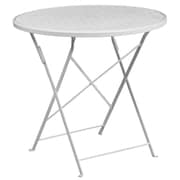 30'' Round White Indoor-Outdoor Steel Folding Patio Table [CO-4-WH-GG]
