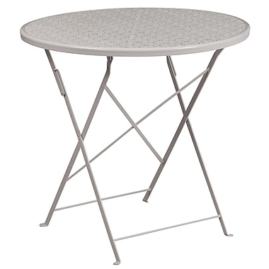 30'' Round Light Grey Indoor-Outdoor Steel Folding Patio Table [CO-4-SIL-GG]