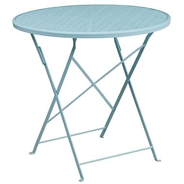 Table de jardin ronde de 30 po en acier bleu ciel, pliable, intérieur/extérieur [CO-4-SKY-GG]