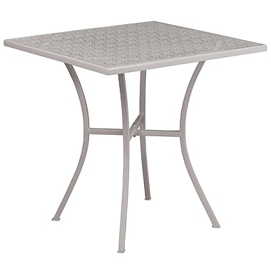 28'' Square Light Grey Indoor-Outdoor Steel Patio Table [CO-5-SIL-GG]