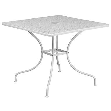 35.5'' Square White Indoor-Outdoor Steel Patio Table [CO-6-WH-GG]