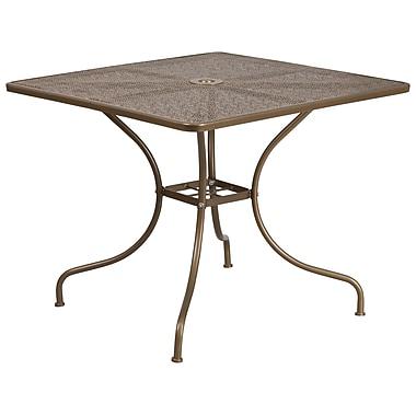 Table de jardin carrée de 35,5 po en acier doré, intérieur/extérieur [CO-6-GD-GG]