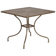 35.5'' Square Gold Indoor-Outdoor Steel Patio Table [CO-6-GD-GG]