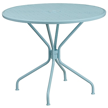 35.25'' Round Sky Blue Indoor-Outdoor Steel Patio Table [CO-7-SKY-GG]
