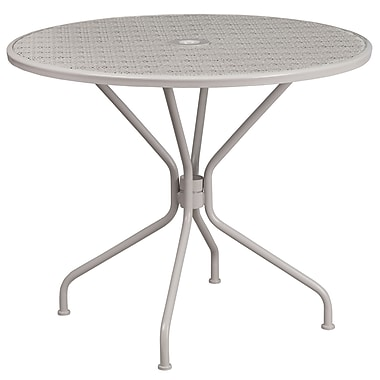 35.25'' Round Light Grey Indoor-Outdoor Steel Patio Table [CO-7-SIL-GG]