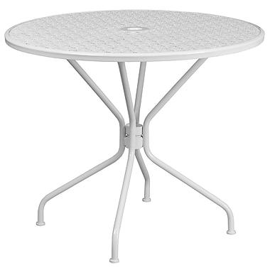 Table de jardin ronde de 35,25 po en acier blanc, intérieur/extérieur [CO-7-WH-GG]