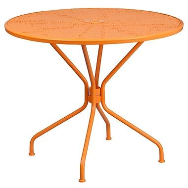 35.25'' Round Orange Indoor-Outdoor Steel Patio Table [CO-7-OR-GG]