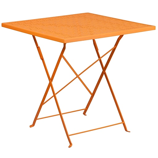 28'' Square Orange Indoor-Outdoor Steel Folding Patio Table [CO-1-OR-GG]