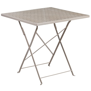 28'' Square Light Grey Indoor-Outdoor Steel Folding Patio Table [CO-1-SIL-GG]