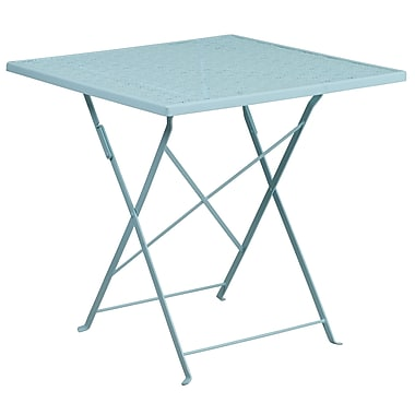 28'' Square Sky Blue Indoor-Outdoor Steel Folding Patio Table [CO-1-SKY-GG]