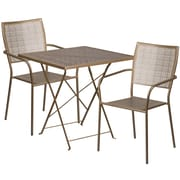 28'' Square Gold Indoor-Outdoor Steel Folding Patio Table Set with 2 Square Back Chairs [CO-28SQF-02CHR2-GD-GG]
