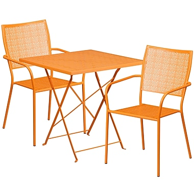 28'' Square Orange Indoor-Outdoor Steel Folding Patio Table Set with 2 Square Back Chairs [CO-28SQF-02CHR2-OR-GG]