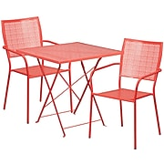 28'' Square Coral Indoor-Outdoor Steel Folding Patio Table Set with 2 Square Back Chairs [CO-28SQF-02CHR2-RED-GG]