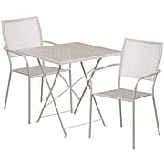 28'' Square Light Gray Indoor-Outdoor Steel Folding Patio Table Set with 2 Square Back Chairs [CO-28SQF-02CHR2-SIL-GG]