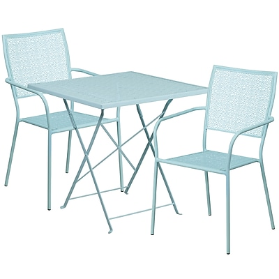 28'' Square Sky Blue Indoor-Outdoor Steel Folding Patio Table Set with 2 Square Back Chairs [CO-28SQF-02CHR2-SKY-GG]