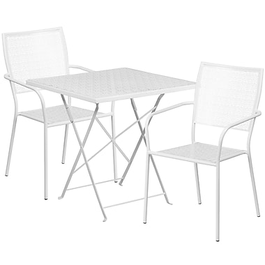 28'' Square White Indoor-Outdoor Steel Folding Patio Table Set with 2 Square Back Chairs [CO-28SQF-02CHR2-WH-GG]