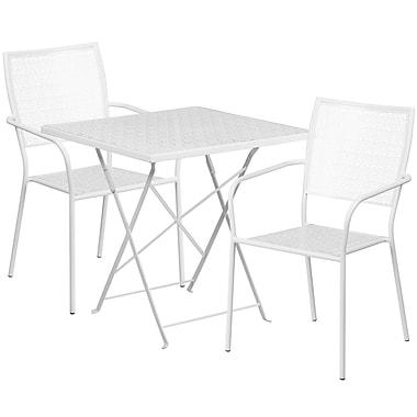 Table de jardin carrée pliante en acier de 28 po et 2 chaises à dossier carré, int./ext., blanc [CO-28SQF-02CHR2-WH-GG]