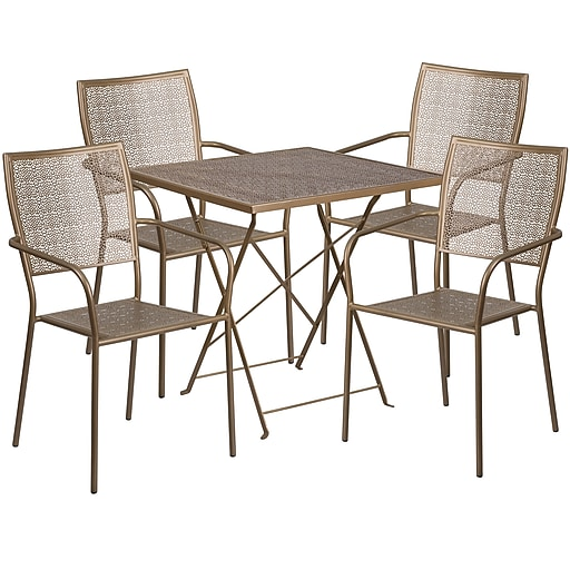 28'' Square Gold Indoor-Outdoor Steel Folding Patio Table Set with 4 Square Back Chairs [CO-28SQF-02CHR4-GD-GG]