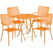 28'' Square Orange Indoor-Outdoor Steel Folding Patio Table Set with 4 Square Back Chairs [CO-28SQF-02CHR4-OR-GG]