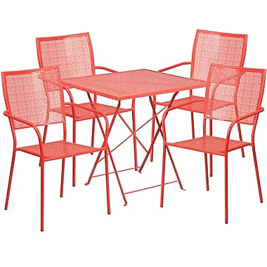 28'' Square Coral Indoor-Outdoor Steel Folding Patio Table Set with 4 Square Back Chairs [CO-28SQF-02CHR4-RED-GG]