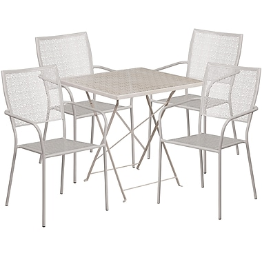 Table de jardin carrée et pliable 28 po en acier gris pâle et 4 chaises au dossier carré, int/ext [CO-28SQF-02CHR4-SIL-GG]
