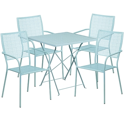 28'' Square Sky Blue Indoor-Outdoor Steel Folding Patio Table Set with 4 Square Back Chairs [CO-28SQF-02CHR4-SKY-GG]