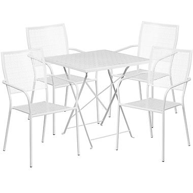28'' Square White Indoor-Outdoor Steel Folding Patio Table Set with 4 Square Back Chairs [CO-28SQF-02CHR4-WH-GG]