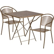 28'' Square Gold Indoor-Outdoor Steel Folding Patio Table Set with 2 Round Back Chairs [CO-28SQF-03CHR2-GD-GG]