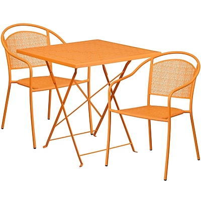 28'' Square Orange Indoor-Outdoor Steel Folding Patio Table Set with 2 Round Back Chairs [CO-28SQF-03CHR2-OR-GG]
