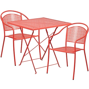 28'' Square Coral Indoor-Outdoor Steel Folding Patio Table Set with 2 Round Back Chairs [CO-28SQF-03CHR2-RED-GG]