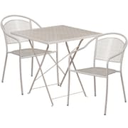 28'' Square Light Gray Indoor-Outdoor Steel Folding Patio Table Set with 2 Round Back Chairs [CO-28SQF-03CHR2-SIL-GG]