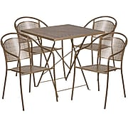 28'' Square Gold Indoor-Outdoor Steel Folding Patio Table Set with 4 Round Back Chairs [CO-28SQF-03CHR4-GD-GG]