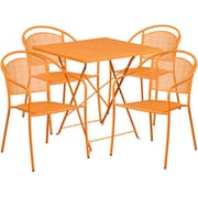 28'' Square Orange Indoor-Outdoor Steel Folding Patio Table Set with 4 Round Back Chairs [CO-28SQF-03CHR4-OR-GG]