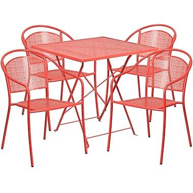 Table de jardin carrée et pliante de 28 po en acier corail avec 4 chaises à dossier rond, int./ext. [CO-28SQF-03CHR4-RED-GG]