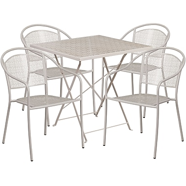 28'' Square Light Grey Indoor-Outdoor Steel Folding Patio Table Set with 4 Round Back Chairs [CO-28SQF-03CHR4-SIL-GG]