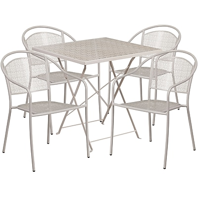 28'' Square Light Gray Indoor-Outdoor Steel Folding Patio Table Set with 4 Round Back Chairs [CO-28SQF-03CHR4-SIL-GG]
