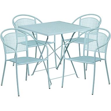 Table de jardin carrée et pliante de 28 po en acier bleu ciel avec 4 chaises à dossier rond, int./ext. [CO-28SQF-03CHR4-SKY-GG]